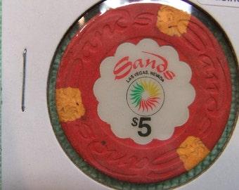 Sands Las Vegas Casino Chip - Gambling - Vintage 1960's Sands Casino 5 Dollar Chip