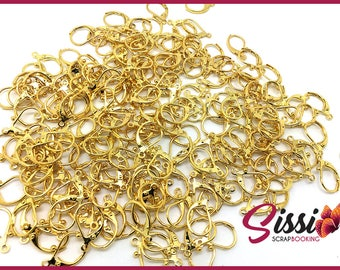 MAXI Pack 20 pieces - earrings to hang, sleepers, DIY 16mm gold tone •
