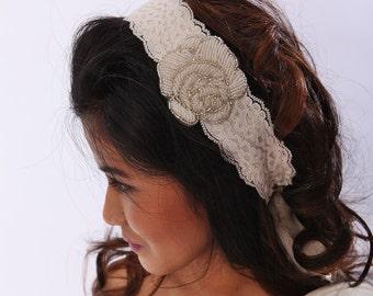 Beaded Rose Lace Ribbon Headband