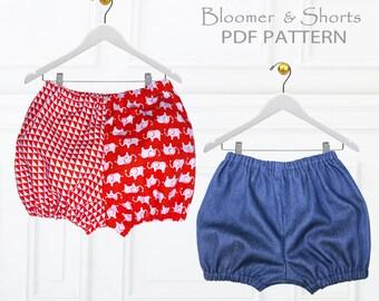 Girls Sewing Pattern pdf, Bloomer Pattern, Shorts Pattern, childrens sewing pattern pdf, girls shorts pants pattern pdf, GIRLS BLOOMERS