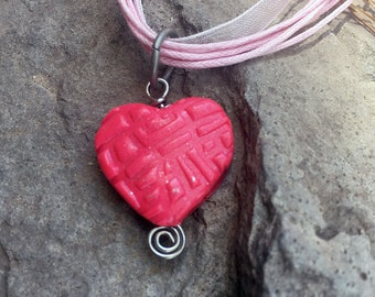 Heart Necklace, Polymer Clay Necklace, Pink Heart Necklace, Handmade Jewelry, Heart jewelry, Gift for Her, Small Pendant