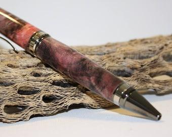 Handmade Ballpoint Twist Pen, dyed Buckeye burl.