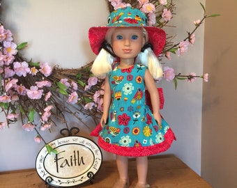 """Dress and hat for the 14.5"""" doll or wellie"""