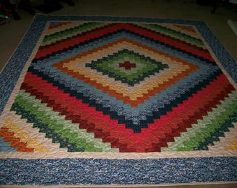 Queen Size Multi Colored Quick Trip Around The World Quilt