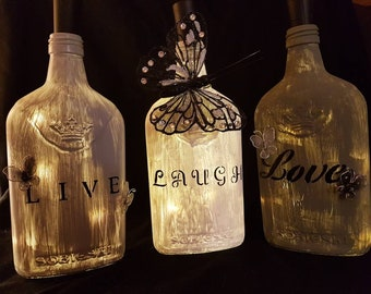 Live, Laugh, Love bottle in black and white