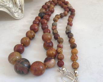 Picasso Jasper Single Strand Knotted Collar Stone Necklace