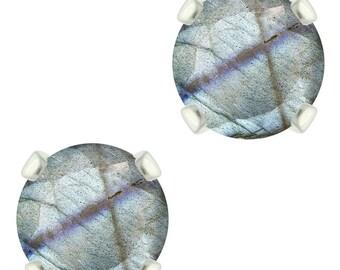 925 Sterling Silver Natural 6mm Diamond Cut Labradorite Gemstones Stud Earrings