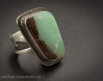 Sterling silver Wave Ring, amazing minty green chrysoprase cab, U.S. size 8, oven, lake, water, calm, sailing, aqua