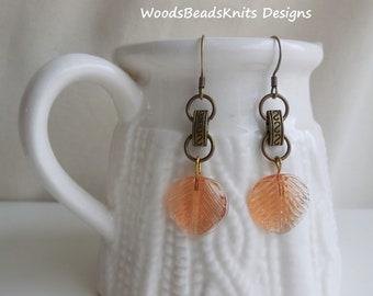 Boho Earrings, Bohemian Earrings, Glass Earrings, Leaf Earrings, Dangle, Antique Brass Nickel-Free Hooks, Gift Women, Free Shipping Canada