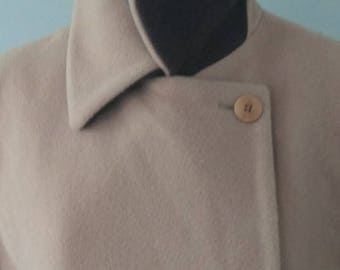 10 / Wool/Nylon/Cashmere Blend Classic Long Camel DoubleBreasted Coat / Made In Italy / Medium