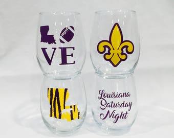 Purple and gold wine glass set