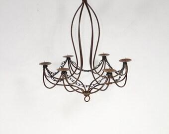 "Wrought Iron Candle Chandelier Lighting ""Master Tamara"" Use Indoor or Outdoor"