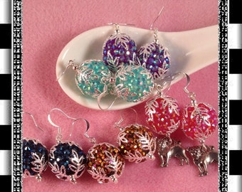 GLITTER & SPARKLE Rhinestone GUMBALL Earrings-Holiday Earrings-Festive Celebration Earrings-Christmas Earrings-Add A Pug Paw Charm-New Years