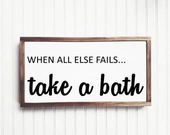 Take A Bath Wood Sign, Bathroom Sign, Bathroom Decor, Powder Room, Home Decor