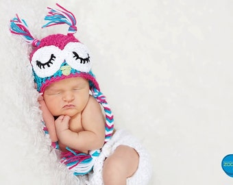 sleepy owl crochet hat for girl.
