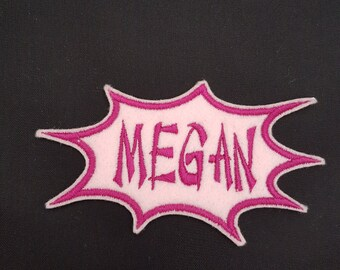 Personalised Spikey Embroidered Name Badge Patch Girls Boys Iron on or sew