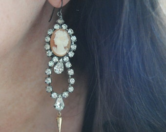 Ella And Elise--Antique Carved Shell Cameo Art Deco Vintage Rhinestone EARRINGS