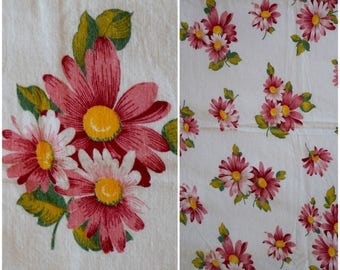 "Vintage Pink Daisy Feedsack Fabric/ 50s Large Floral Print Cotton Flour Sack/ Cottage Chic Farmhouse Quilting Sewing & Material: 41.5""x 36"""