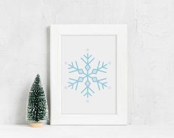 Minimalist Snowflake Print Minimalist Christmas Holiday Wall Art Snowflake Illustration Snowflake Decor Winter Wall Decor