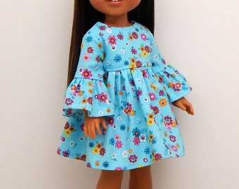 14.5 inch Doll Clothes-Warm Spring Day Collection-Blue Floral Dress