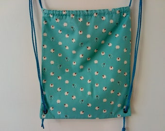 Blue Sheep Print Drawstring Backpack Bag