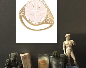 Saint Mary's College Ring Print, Digital Print, Gold Class Ring