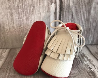 NEW White Red Sole Baby, Red Bottom Moccasin Baby Boy Pram Boots - Like Mummy's Louboutins but Designer Inspired! Louboutin Baby!