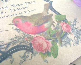 Wedding,Rustic, Bird, save the date cards