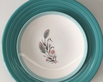 70s Vintage pink and blue dessert plates with wheat print - Set of 6