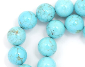 Turquoise Blue Magnesite Beads - 10mm Round