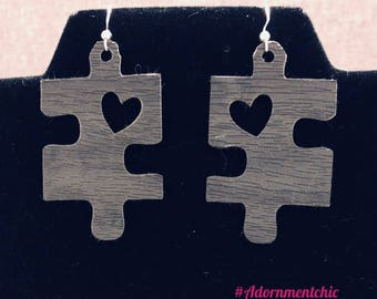 Faux Leather Autism Awareness Earrings