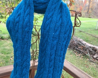 Hand-Knit Cable Scarf