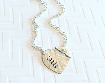 Loved Necklace - Silver Heart Necklace - Hand Stamped Necklace - Personalized Necklace - Gifts for Mom - Gifts for Her - Mothers Day Gift