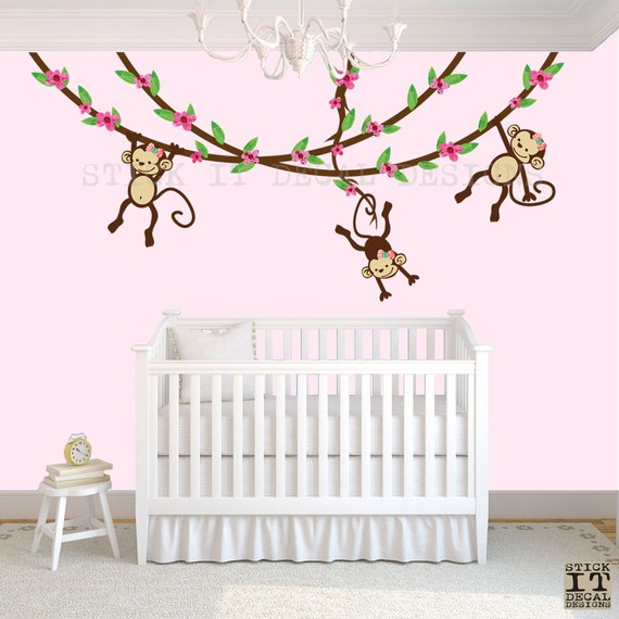 sc 1 st  Etsy & Hanging Monkey Wall Decal Girl Monkey Vines Monkey Decal