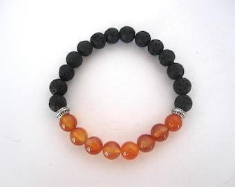Carnelian Lava Stone Bracelet, Lava Stone Jewelry, 8mm Stretch Bracelet, Black Bracelet Jewelry, Diffuser Bracelet Diffuser Jewelry