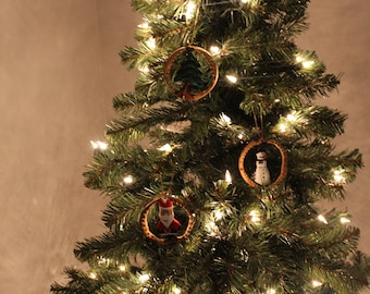 Hand carved Set of 3 holiday ornaments