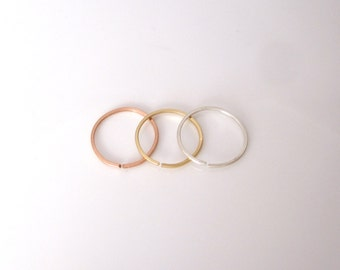 Toe or knuckle midi ring in yellow, rose gold or sterling silver square wire ring, adjustable open ring