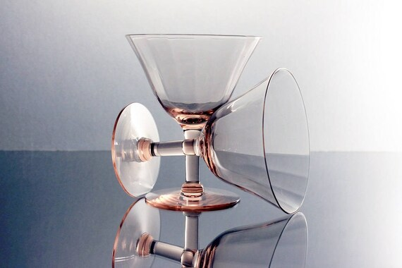 Pink Wine Glasses, Optic Paneled, Depression Glass, Cocktail Glasses, Set of 2, Barware
