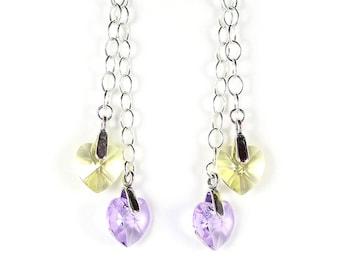 Violet and yellow crystal heart earrings, Swarovski crystal, purple earrings, sterling silver chain, sterling silver earwires