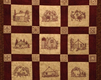 Quilt Barns Quilt Pattern - Redwork Hand Embroidery Blocks & Quilt Finishing Pattern - by Beth Ritter - Instant Digital Download