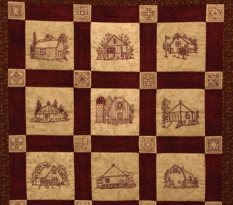 Quilt Barns Quilt Pattern Redwork Hand Embroidery Blocks & : quilt patterns on barns - Adamdwight.com