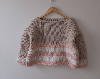Tricolor sweater, chunky knit sweater, handmade sweater,