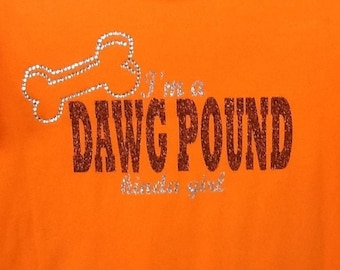 Cleveland Browns dawg pound glitter and rhinestone fitted t-shirt