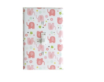 Pink Elephant Light Switch Cover | Pink Elephant Nursery Decor