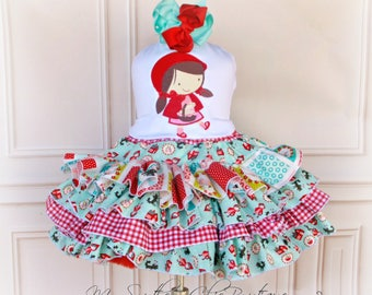 Little Red Riding Hood Dress- Red Riding Hood Dress- Girls Ruffle dress- Red dress- Little Red Riding Costume- Girl Costume- Birthday Dress