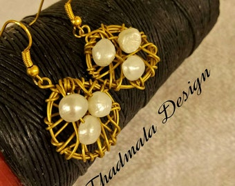 boho wires woven and pearl earring