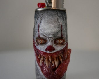 Pennywise Custom lighter sleeve, lighter cover, Glow in the dark eyes,  Fits mini bic lighters, small sculpure, household, OOAK