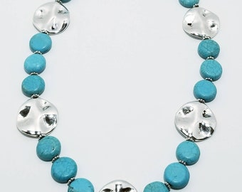 Turquoise and pewter necklace
