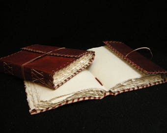 Artist's Sketchbook - Hand-Sewn Buffalo Hide - DECKLED Handmade Cotton Paper