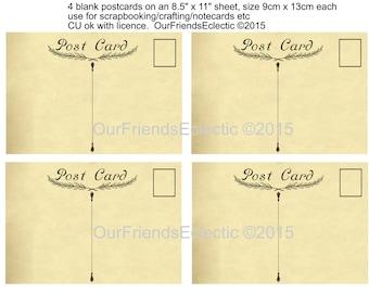vintage postcard template digital postcard printable blank postcard plain postcard scrapbooking notecards